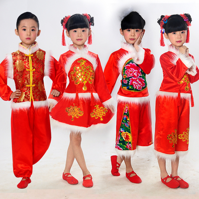 Children's new year's day, Chinese Yangko performance clothing, children's red lantern dance costumes, men's Tang suit national costume.
