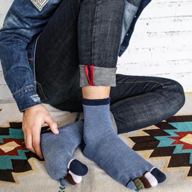 秋冬款中筒男士袜脚趾纯棉五指厚吸汗保保健袜分袜子矫正5双装