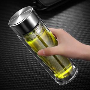 阔豪创意过滤水杯双层玻璃带盖杯子便携女简约办公室泡茶杯男加厚