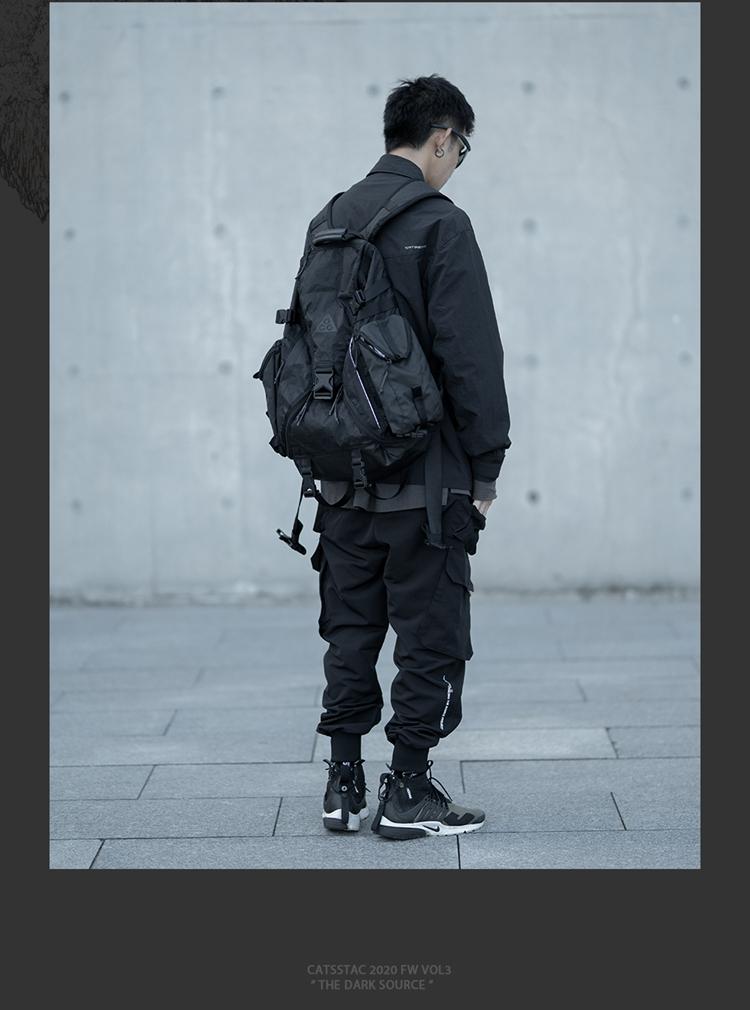 正韓男裝【海龜】潮牌 CATSSTAC 20秋托容異型大口袋工裝褲休閒黑色束腳褲