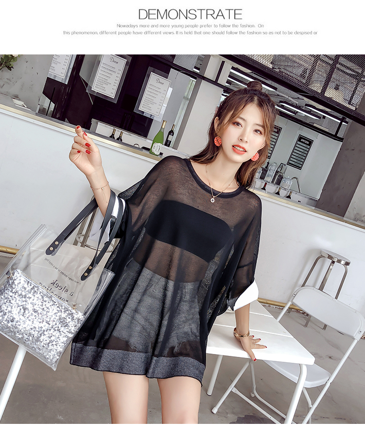 In the summer of 2018, low neck collar medium length seven point sleeves pure T-shirt thin style fashionable self-cultivation.