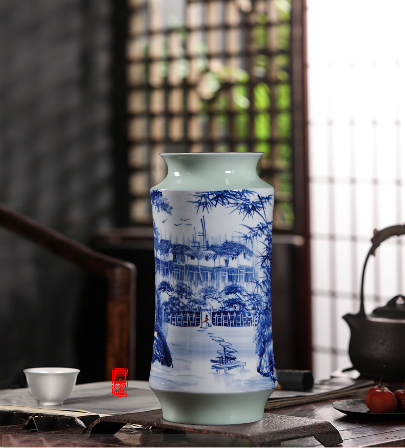 Jingdezhen ceramic hand - made flower arranging dried flowers of modern Chinese style living room home decoration furnishing articles craft vase