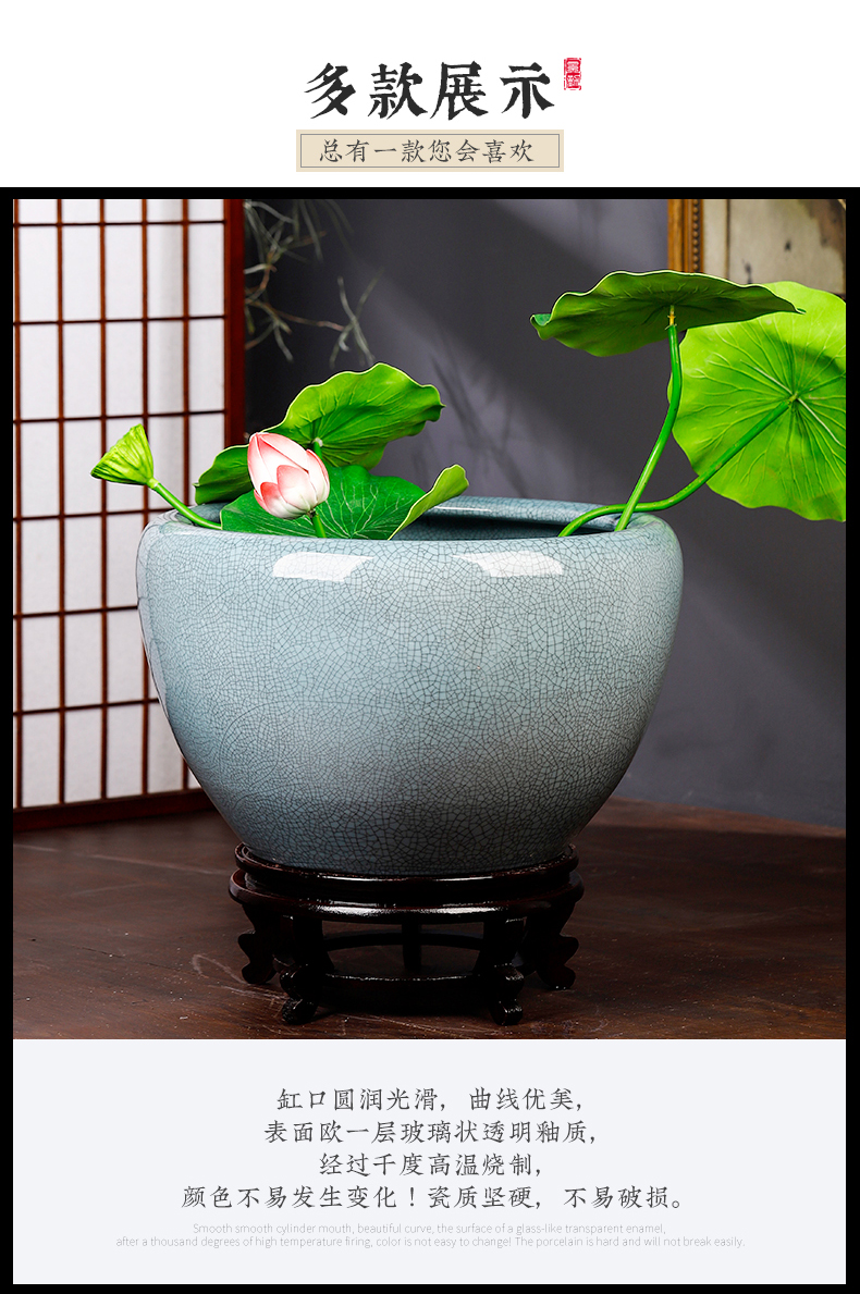 Jingdezhen ceramic aquarium restoring ancient ways is archaize turtle cylinder basin of water lily lotus goldfish bowl lotus cylinder extra large