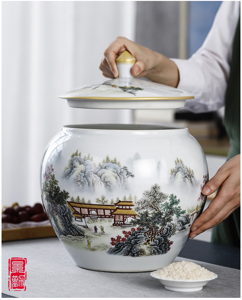 Jingdezhen ceramic storage tank hand by hand with cover Chinese medicine food rice, cooking pot grain tea pot