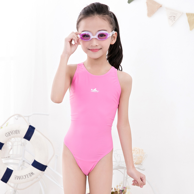 02bd0016fa8e0 British girls swimwear children's big boys and girls professional training  competition sexy cute Siamese triangle swimsuit