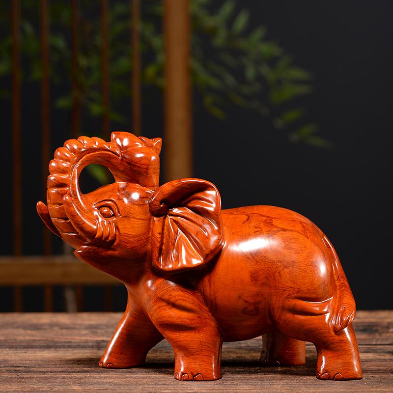 木雕大象摆件一对雕刻乔迁开业工艺礼品办公室桌客厅酒柜家居装饰