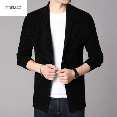 Áo len nam mùa xuân thời thượng áo len nhung giữa áo len dệt kim dài mùa xuân và mùa thu Hàn Quốc màu sắc Quần áo mỏng nam - Cardigan