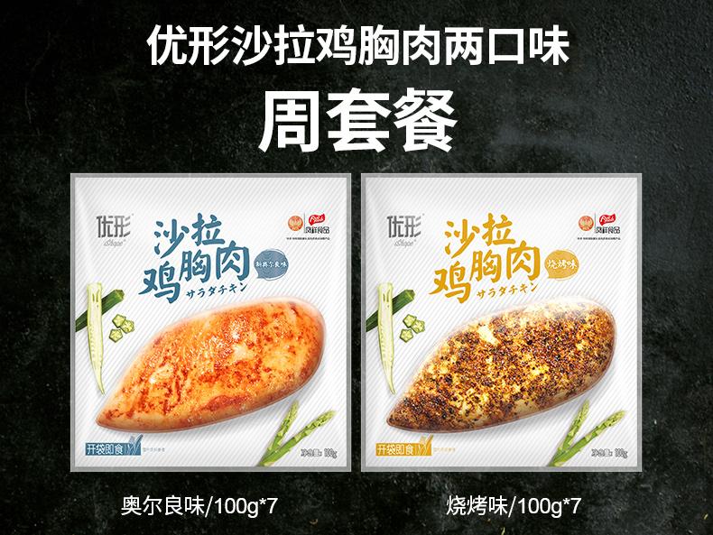 国家队备战食品 优形 电烤即食鸡胸肉 奥尔良+烧烤味 100g*14袋 图1