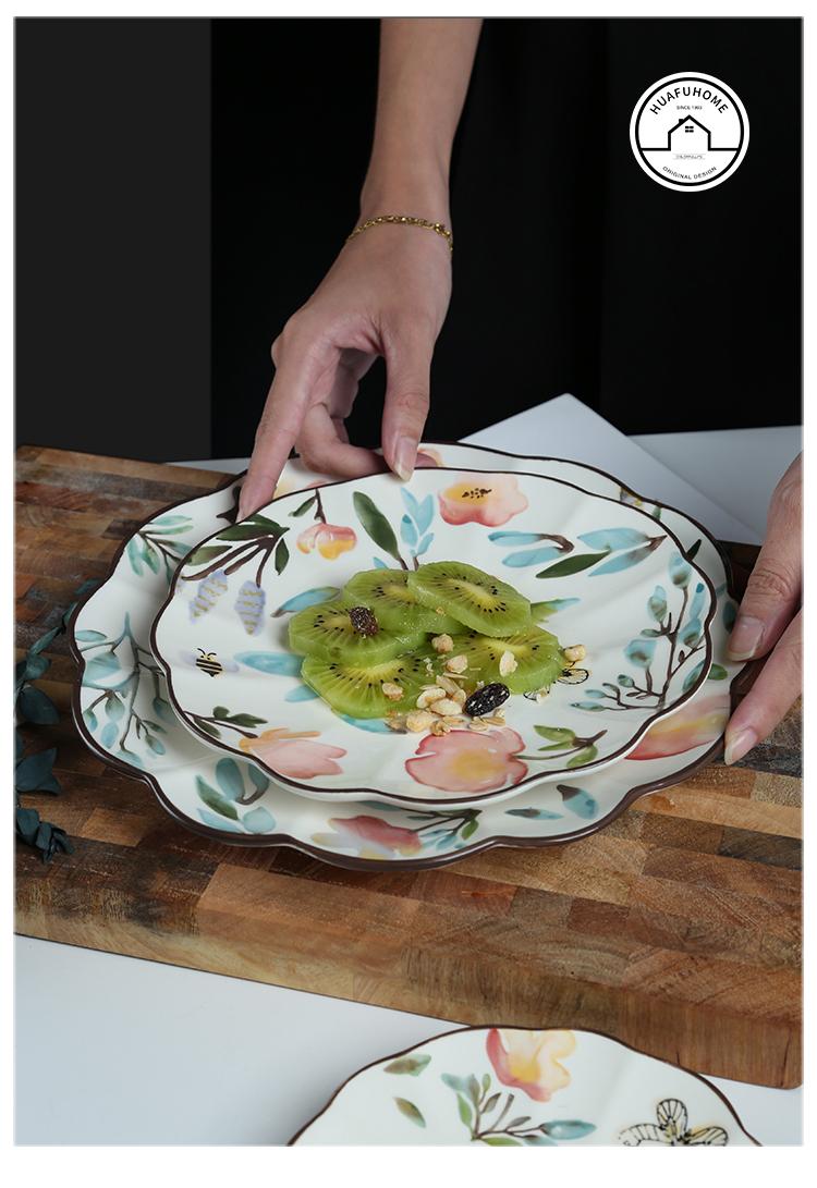 复古手绘春韵花边盘 田园陶瓷平盘家用菜盘水果点心盘西餐牛排盘