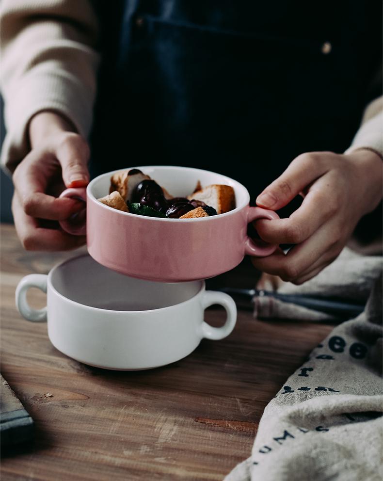Ceramic ears porridge bowl of steaming roast bowls of stew household soup bowl of soup bowl pudding dessert salad bowl bowl restaurant porcelain cup
