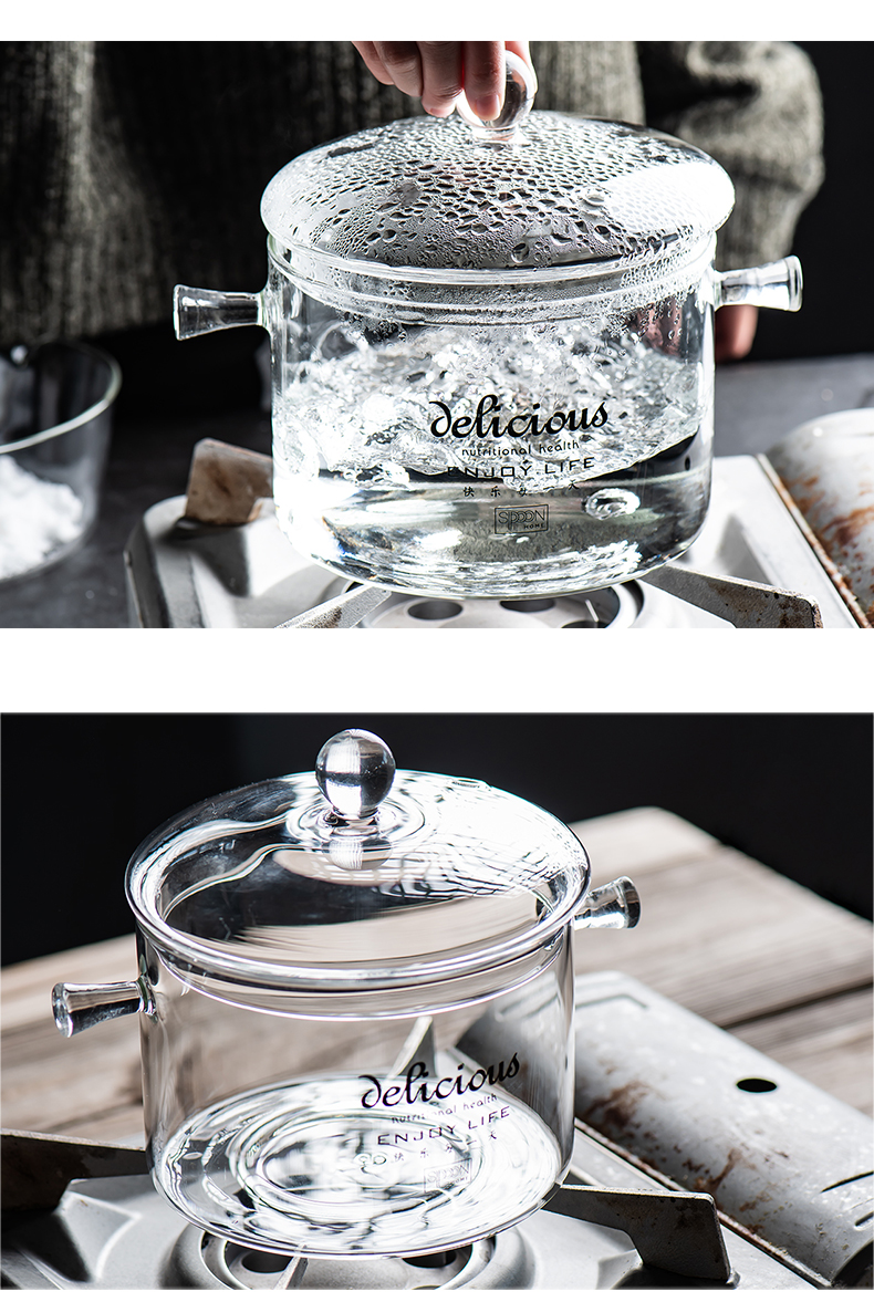 Household high borosilicate glass pot soup ears electric TaoLu gas soup pot fire heat to hold to high temperature pot stew