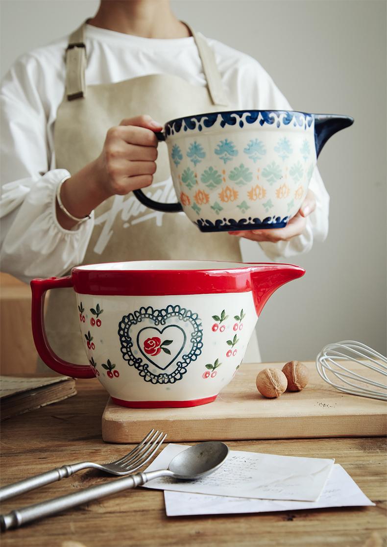 家用 打蛋碗引流嘴和面盆烘焙碗料理碗馅料碗欧式风 陶瓷搅拌碗