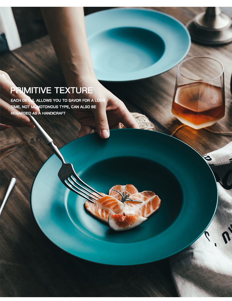 Nordic creative ceramic pasta dish food dish deep dish of household food dish tableware straw hat dish soup plate FanPan disc