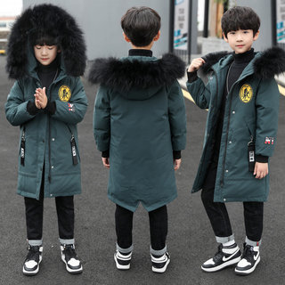 Boys' cotton clothing tide boy 2020 new mid-length children's thickened down cotton jacket in the big children's cotton-padded jacket foreign winter tide