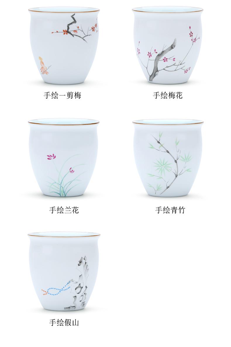 Package mail jingdezhen up hand - made ceramic sample tea cup powder enamel cup kung fu tea liquor cup master CPU