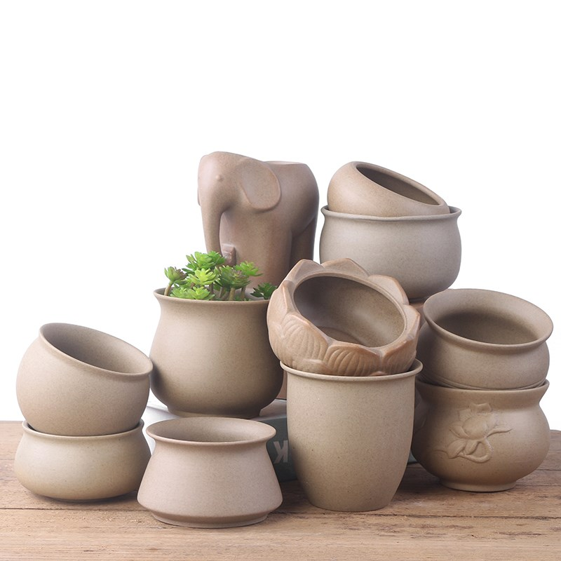 粗陶素烧透气新款DIY手绘盆栽清新简约多肉植物陶瓷花盆包邮