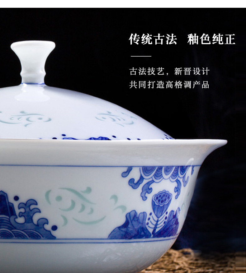 Jingdezhen flagship store town shop ceramic hand - made with blue and white and exquisite key-2 luxury tableware suit in the summer of 10 people