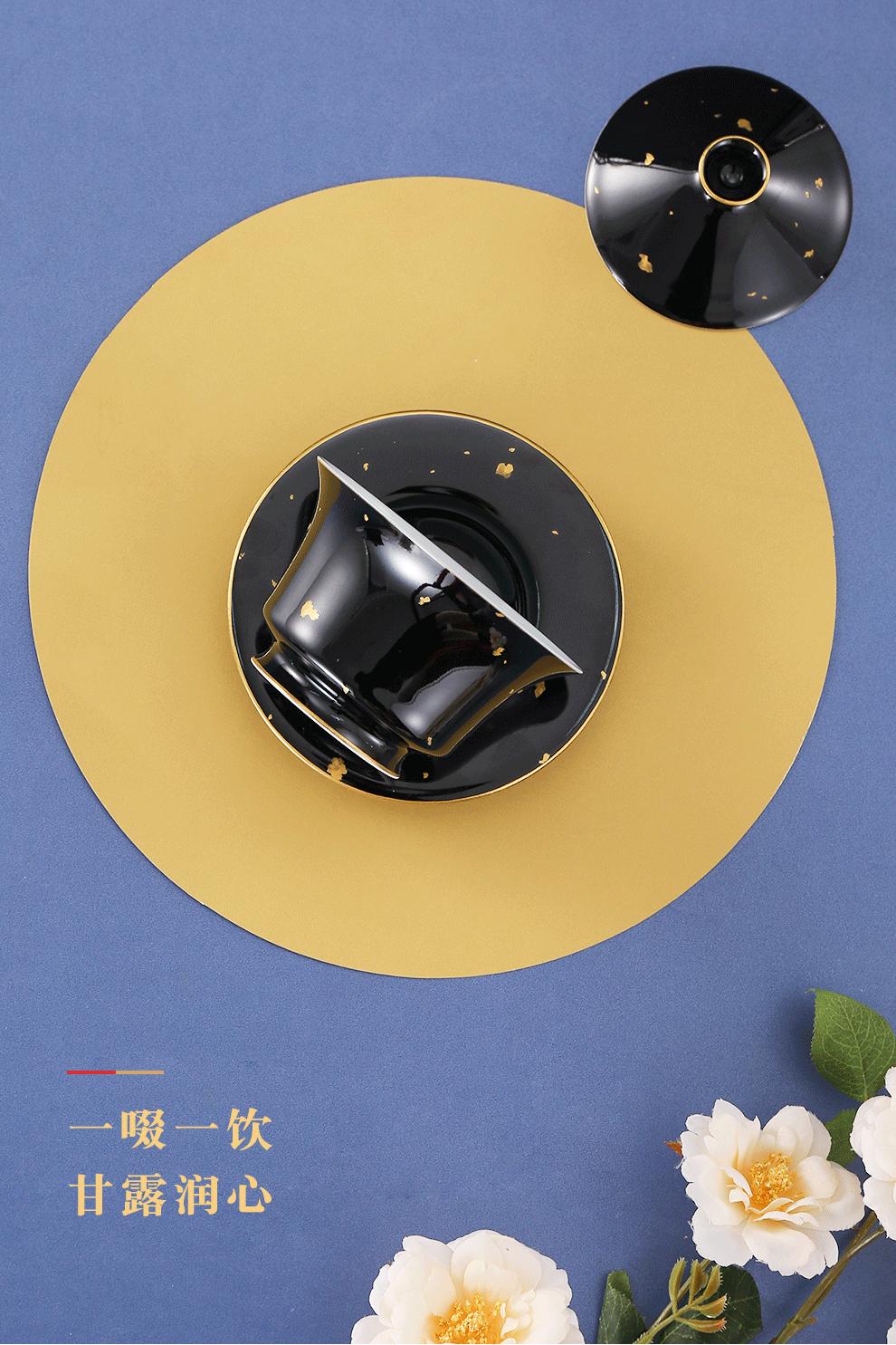 景德镇旗舰店手工颜色釉洒金家用陶瓷单个盖碗泡茶功夫茶具礼盒装