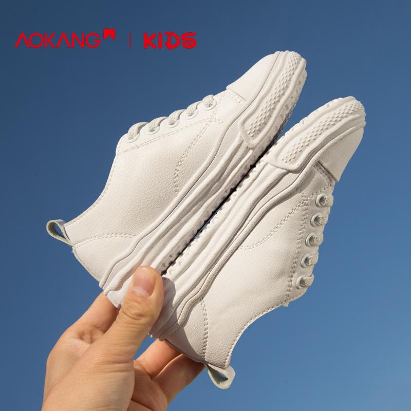 奥康童鞋男童小白鞋2019新款时尚白色运动鞋休闲平底百搭女童板鞋