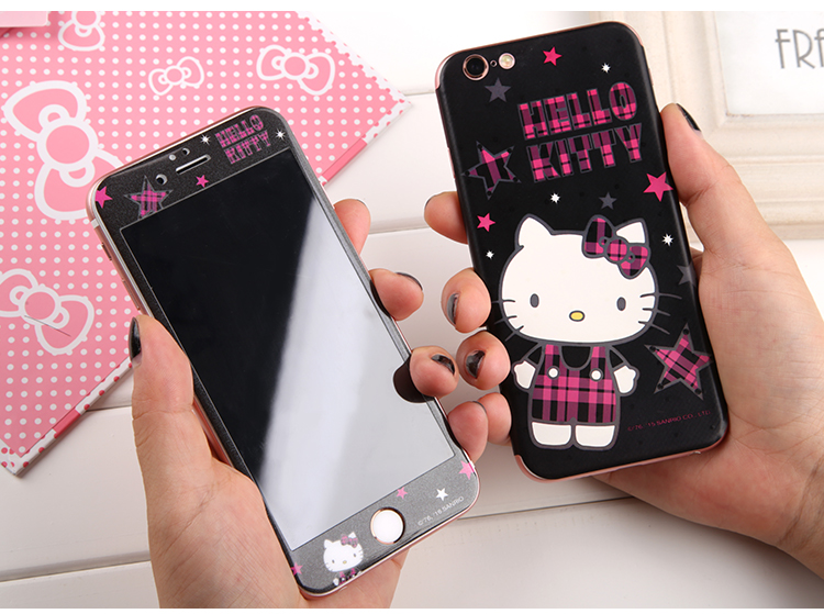 Hello Kitty Cutie 3D Full Size Glitter Soft Edge 9H Hardness Tempered Glass Screen Protector with Color Stick Back Cover Film for Apple iPhone 6S Plus & iPhone 6S/6