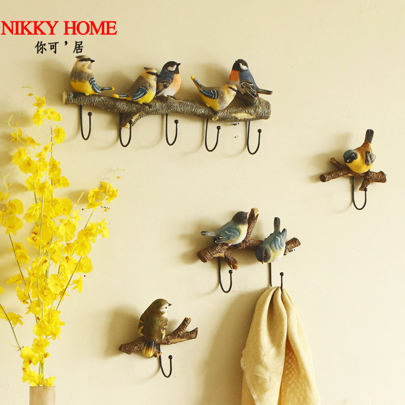 美式小鸟创意挂钩玄关门口钥匙挂衣钩墙壁装饰卧室壁挂墙上衣帽钩