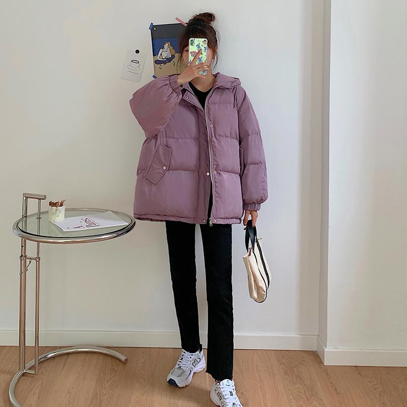 女韩版时尚保暖棉服纯色百搭面包服