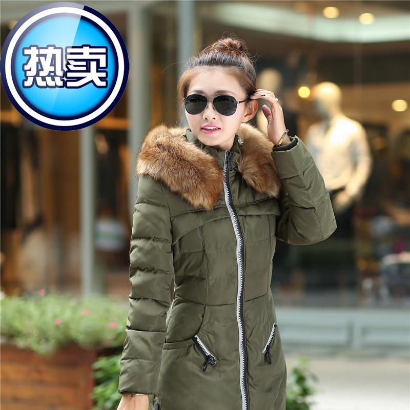 2015外套v新款女式棉袄韩版修身大毛领棉衣羽绒中长款冬装棉服