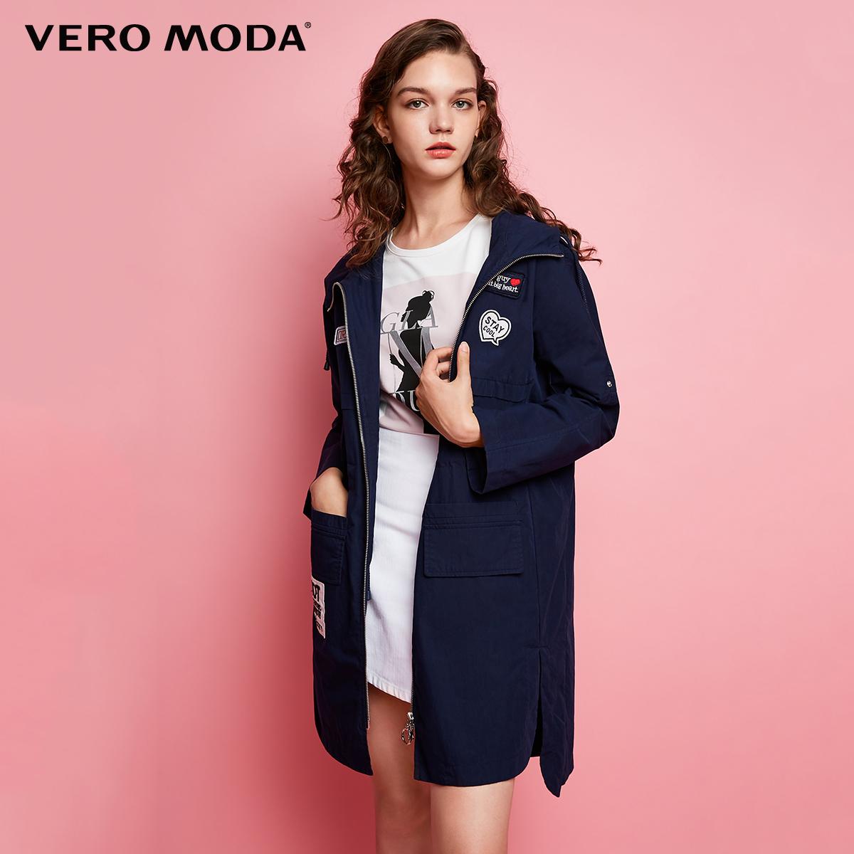 Vero Moda2017秋季新款户外风贴标连帽中长款风衣|317321517