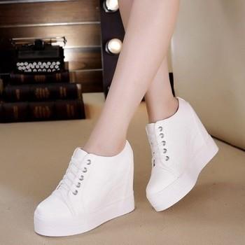 运动休闲女鞋网纱坡跟透气10cm新款内增高网鞋小白夏季鞋