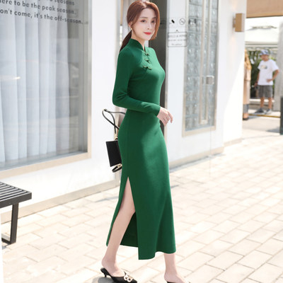 Chinese style Republic of China retro disc button improved cheongsam daily sweater skirt catwalk performance clothing knitted bottoming dress