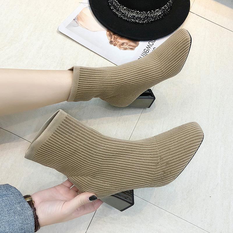 春季短靴鞋子女2019冬季新款女靴百搭方头瘦瘦针织弹力袜子靴女鞋