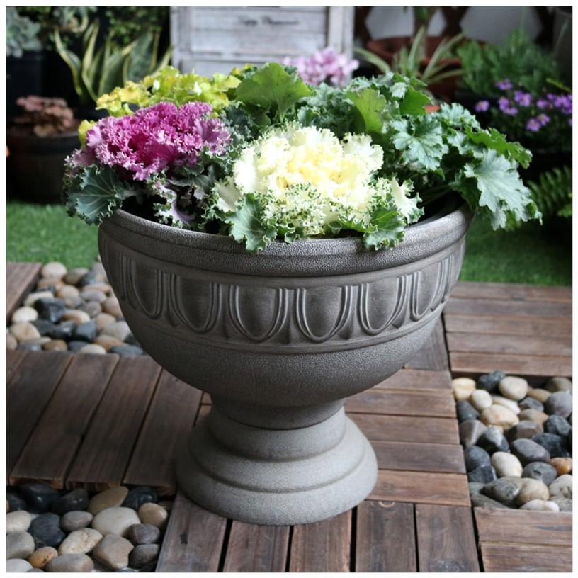 环球花盆花园杯形盆仿塑料盆欧式古典酒杯盆花盆睡莲树脂水泥盆