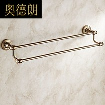 All copper antique bathroom towel bar towel hanging retro towel double rod bronze bathroom hardware pendant 16002