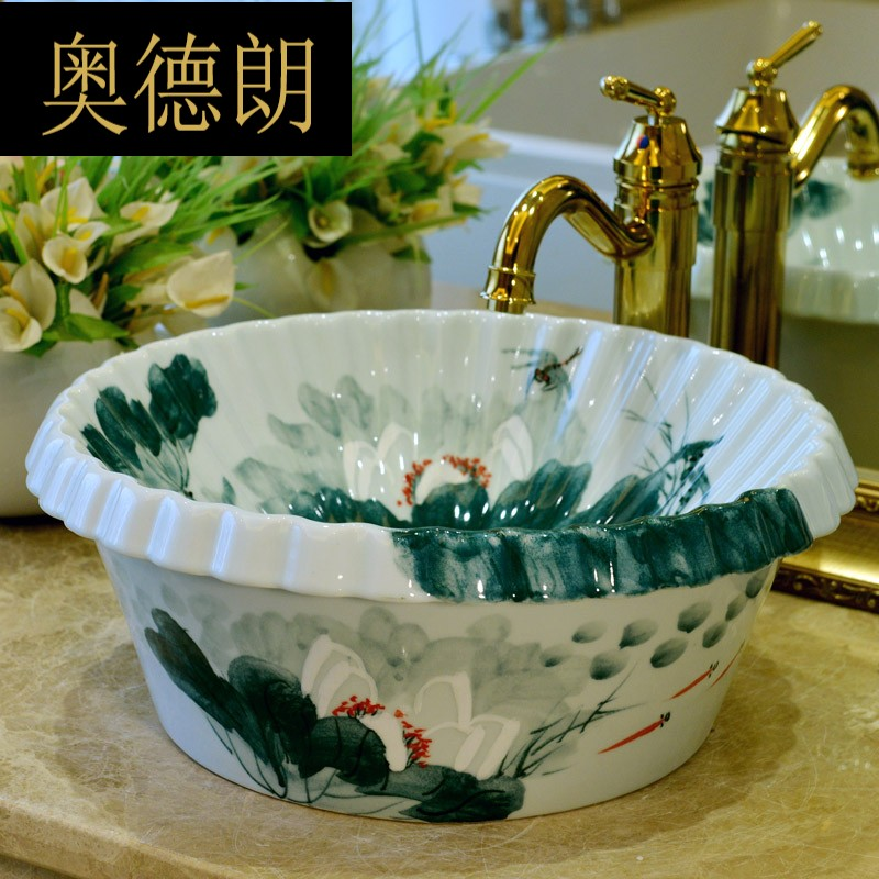 Round table basin semi-embedded table under the basin Chinese art table hand-painted ceramic washbasin household washbasin