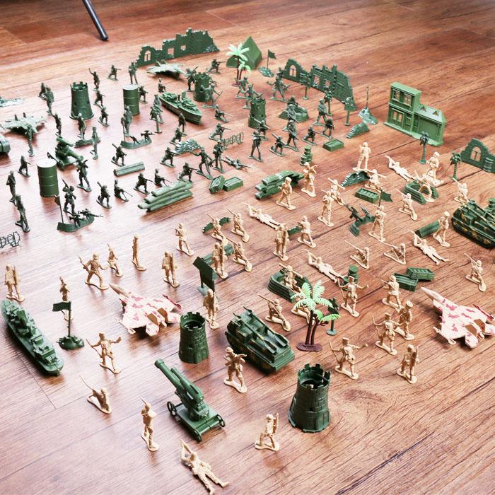 儿童军事基地沙盘兵人套装模型玩具 二战小兵人士兵军队战争模型