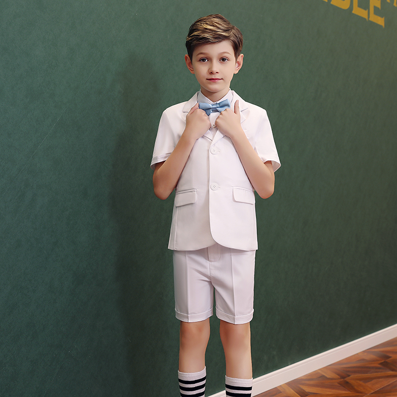 Children's suit suit three-piece handsome jacket British boys short-sleeved small suit Korean version shorts dress summer