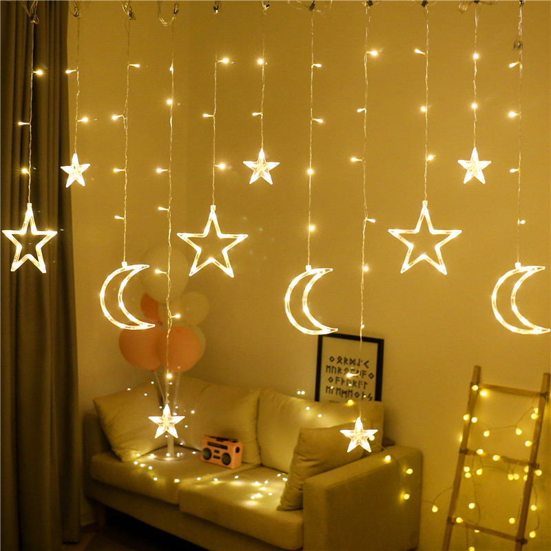 led Star lights small lights flashing lights string lights gypsophila net red bedroom romantic room curtains decorations layout