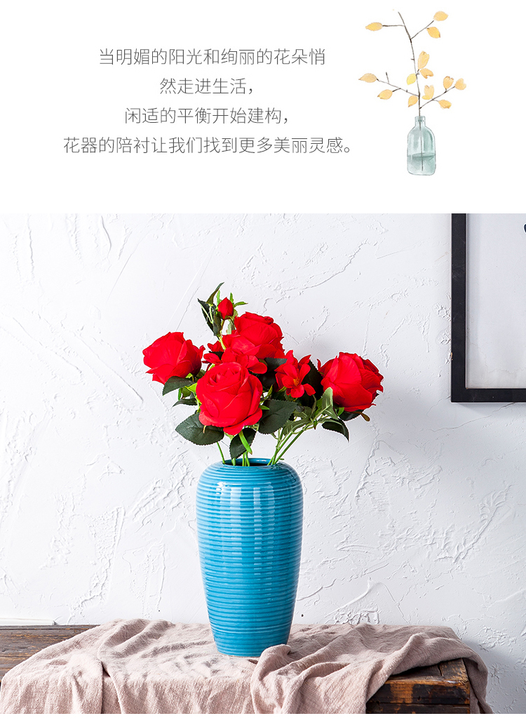 Ceramic vase furnishing articles sitting room TV ark of large porcelain flower arranging household contracted modern dry flower decoration