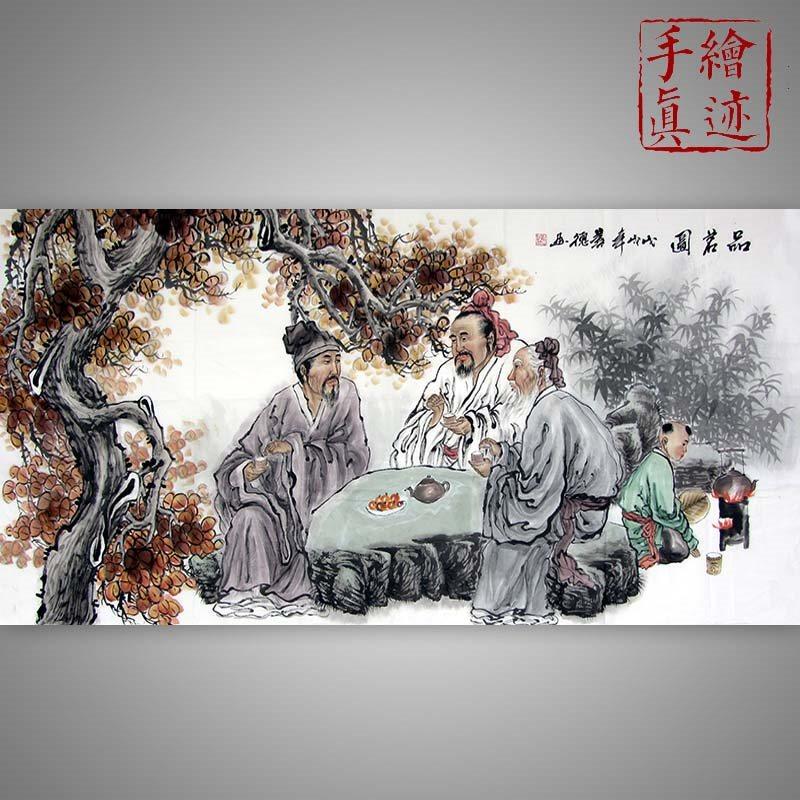 真迹古画人物画四尺国画客厅手绘对奕图竹林七贤字画纯品茶装饰画
