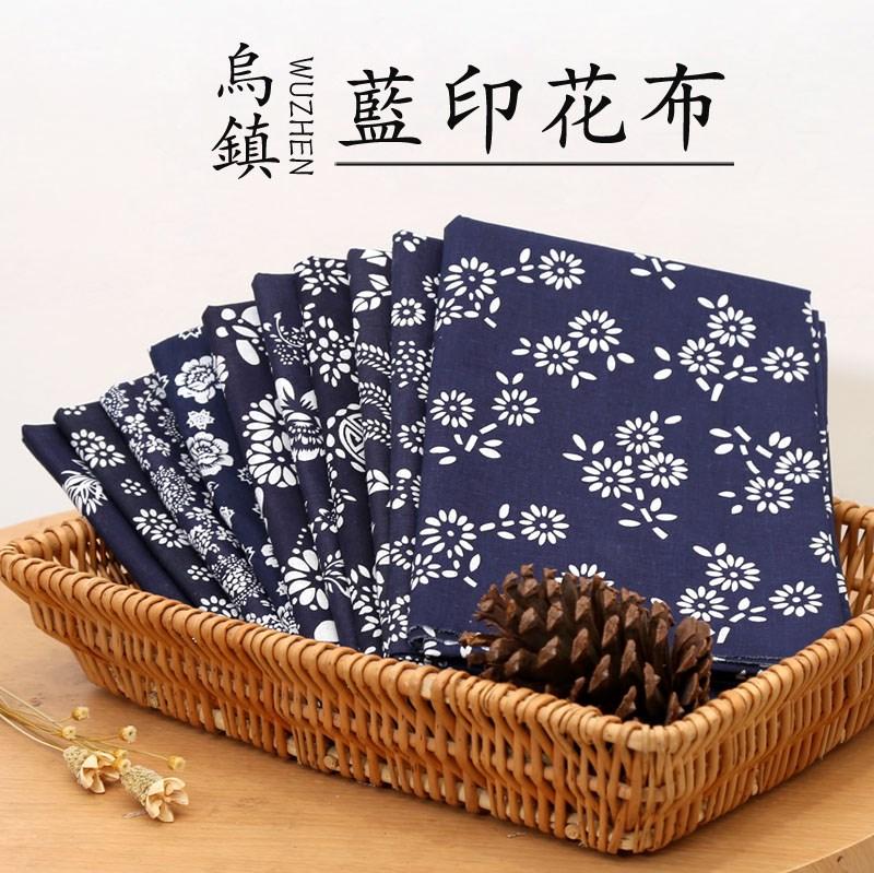 蓝印花布料乌镇蜡染纯棉碎花布手工餐厅中国民族风蓝花青花布桌布
