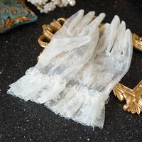 Водный танец новый Мать корейская короткий перчатки молоко белый цветы свадебное Пряжа пять пальцев перчатки Аксессуары N0114