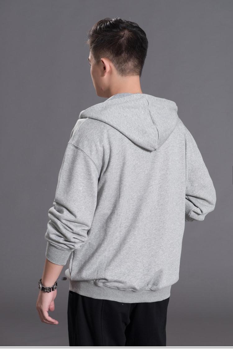 Mùa thu của nam giới màu rắn bông thậm chí hat áo len cộng với phân bón XL thể thao áo sơ mi giản dị chạy dây kéo áo khoác