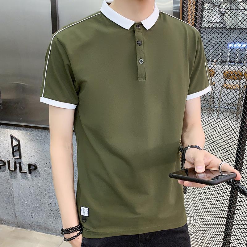 2020 áo polo nam mùa hè mới giản dị tay ngắn ve áo nam Slim áo sơ mi thanh lịch thương hiệu thanh niên - Polo