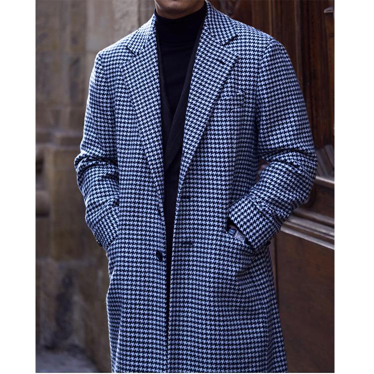 Polocoat áo polo cổ điển Anh houndstooth mid-long-long áo len dày mùa đông nam - Áo len