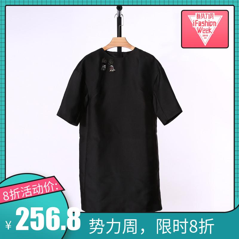 郭系列春夏新款黑色短袖显瘦连衣裙女A15W235H