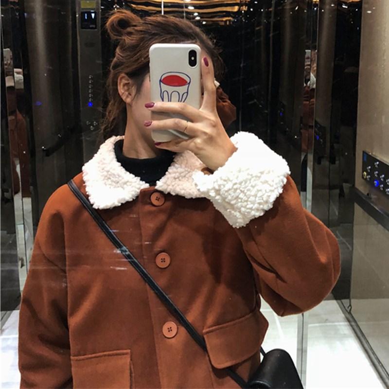 新款冬装女装韩版宽松拼接仿羊羔毛棉服学生夹棉加厚棉衣外套