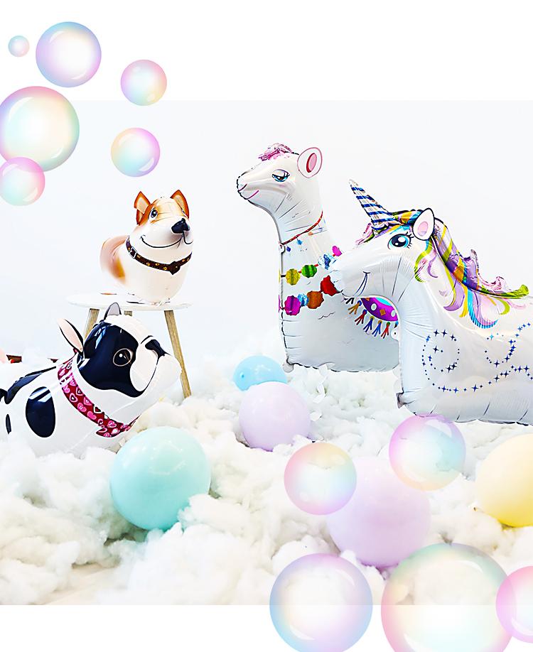 会走路的气球动物站立小猪儿童生日派对装饰散步宠物卡通铝膜汽球详细照片