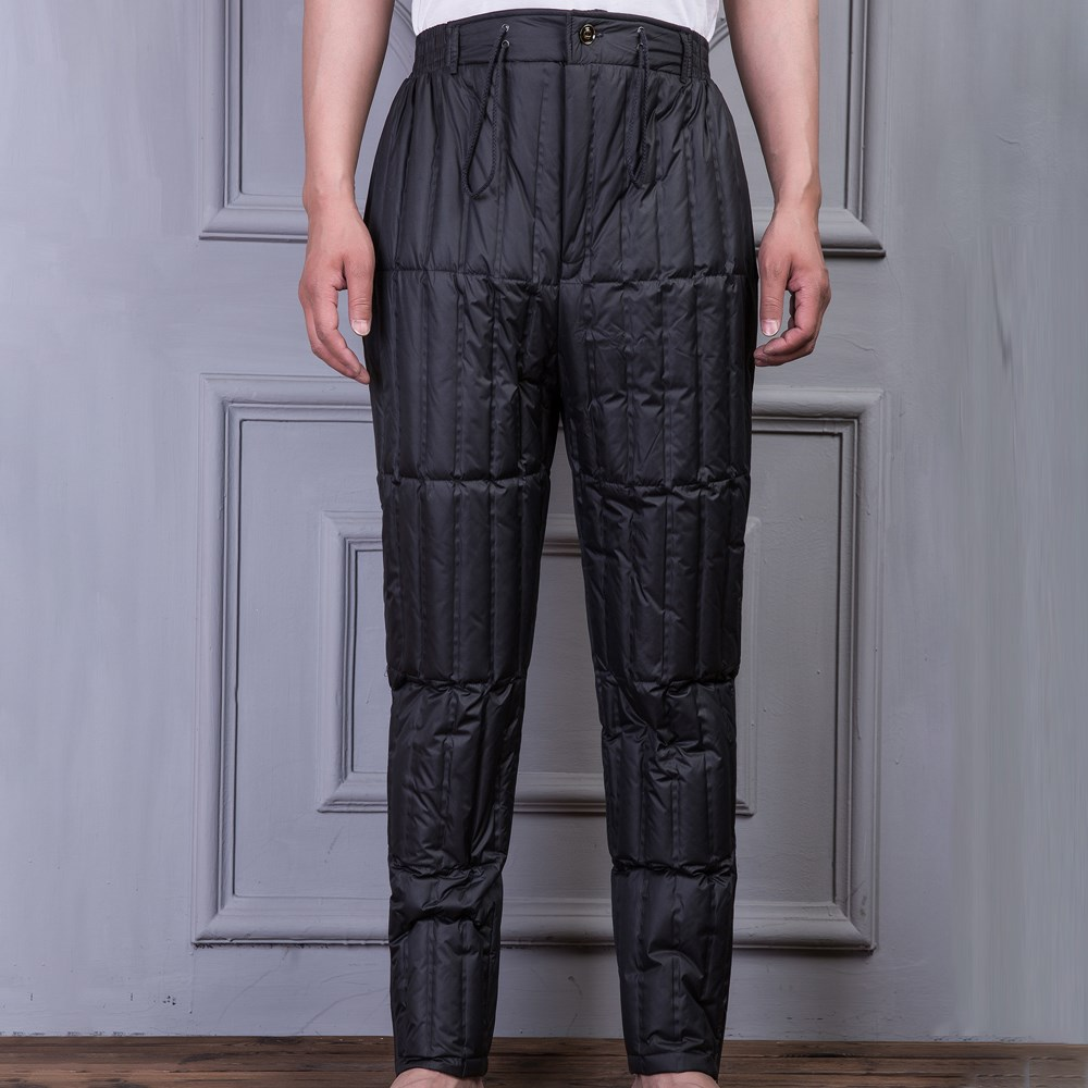 2019 middle-aged down pants men wear high waist and fat plus size winter dad down pants men new