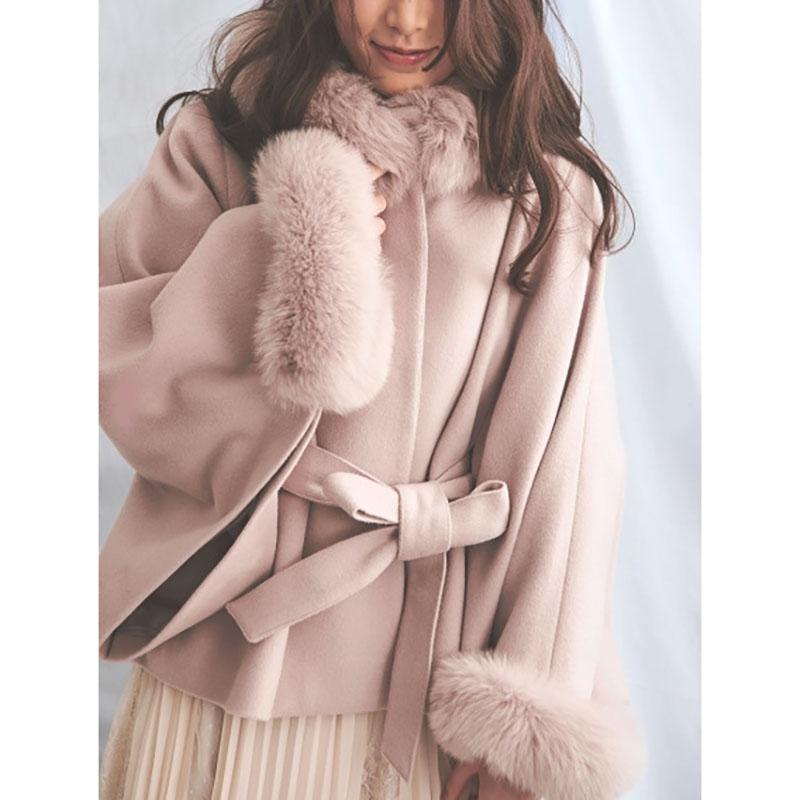 冬季斗篷大衣毛领奢华真毛呢高贵腰带系气质宽松外套新品狐狸