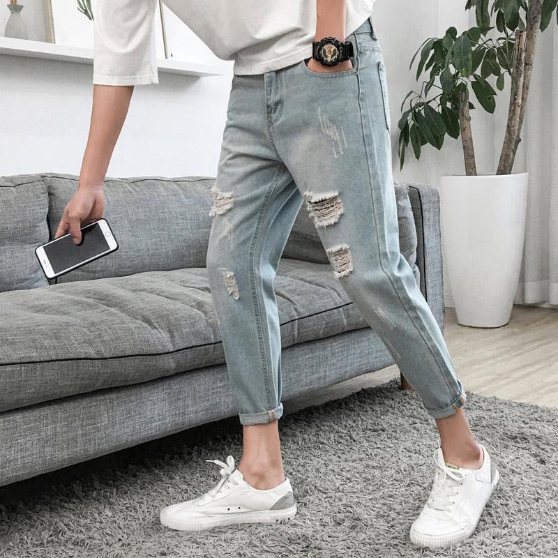 复古牛仔裤修身时尚版破洞休闲牛仔裤男